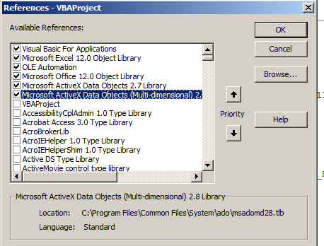 Running Teradata Queries From MS-Excel 2007 Using VBA